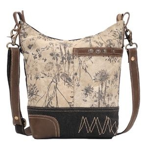 Myra Bag Upcycled Canvas & Leather Shoulder Bag